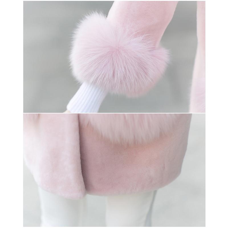 Des Vêtements De Longueur Femme Couleur Hiver Nouvelle Femmes Imitation Moyen Manteau Creamy Solide Tonte Wk236 Moutons Fourrure Mode white pink Veste Coréenne Style tUYzwqx