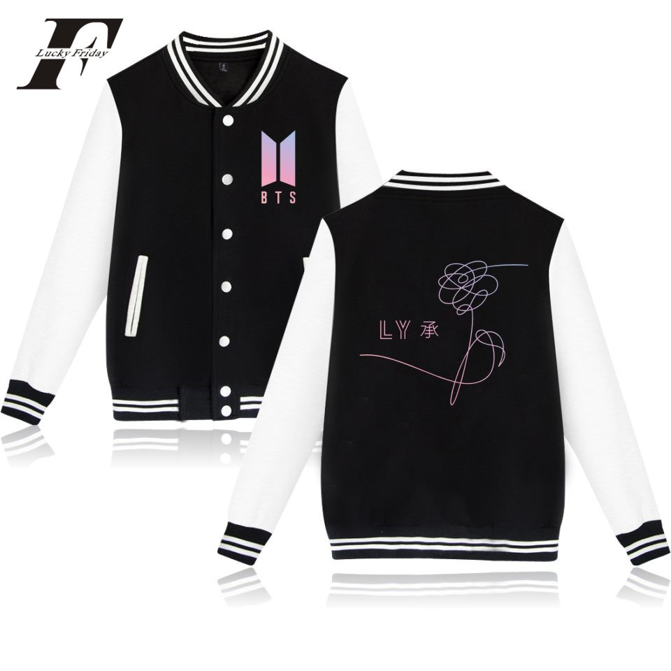 BTS Love 2018 new exo Yourself New Album Baseball Jacket Women Hoodies And Sweatshirt Bangtan Kpop Hoodies Women College Jacket