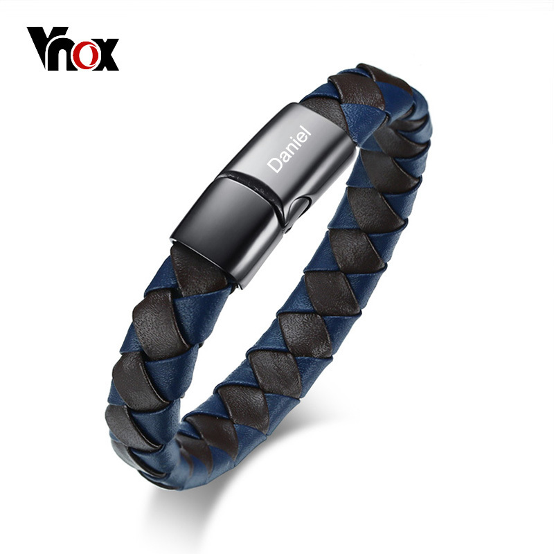 Vnox Free Personalized ID Bracelet for Men Bangle Braided Leather Stainless Steel Closure Male Identification Jewelry vnox personalized id necklace pendant stainless steel silicone dog tag jewelry provide engrave record servise