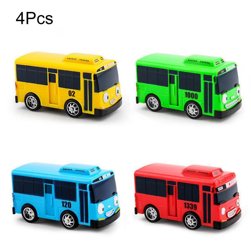 4 PCS/Set Cartoon Cars Mini TAYO Bus Taxi Back Cars Models Children's Educational Toys For Boy