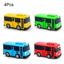 4 PCS/Set Cartoon Cars Mini TAYO Bus Taxi Back Models Childrens Educational Toys for Boy