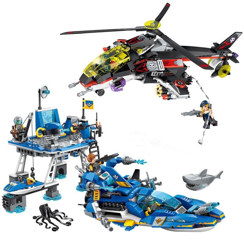 724 個子供の教育ビルディングブロック玩具互換 Legoingly 市技術 era 海港バトル航空機警察ボート  グループ上の おもちゃ & ホビー からの モデル構築キット の中 1