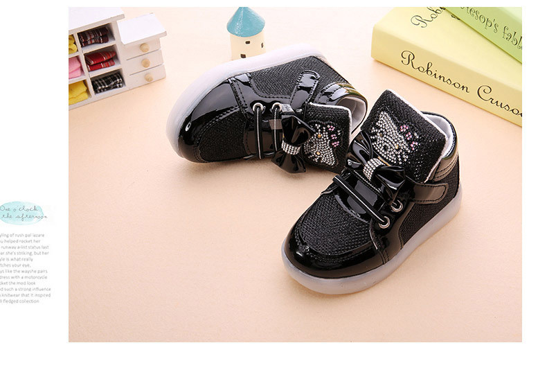 Girls shoes baby Hook Loop led shoes kids light up glowing sneakers toddler Girls princess children shoes girls with light 9