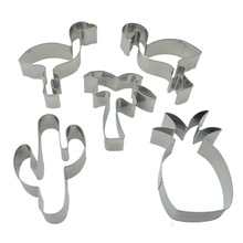 6pcs/lot Stainless Steel Cookie Cutter Flamingo Pineapple Stamps Bakeware Mold Cake Decorating Biscuit LB 378