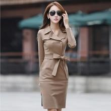 women's long-sleeve suit collar medium-long slim hip slim basic one-piece dress