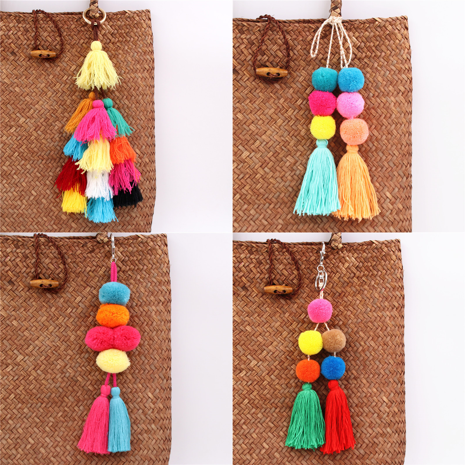 1pc Boho Jewelry Pompom Keychains With Tassel Bag Accessories Bag Hanging For Women Gift