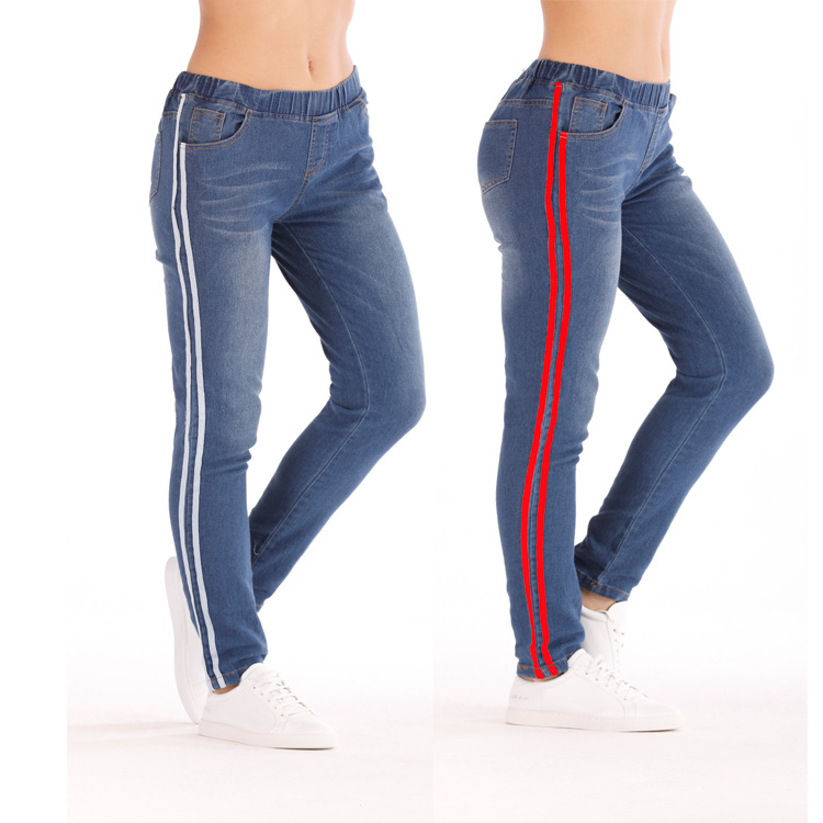 2019 New Striped Jeans Women's Plus Size S-5XL Elasticity Waist Pencil Pants Trousers Red Stripes Small Stretch Jeans Hot Jeans Women Bottom ! Plus Size Women's Clothing & Accessories