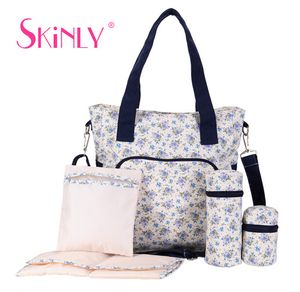 6 PCS/SET Baby Nappy Bags Diaper Bag Mother Shoulder Bag Maternity Mummy Handbag Waterproof Baby Stroller Bag Washed by Machine