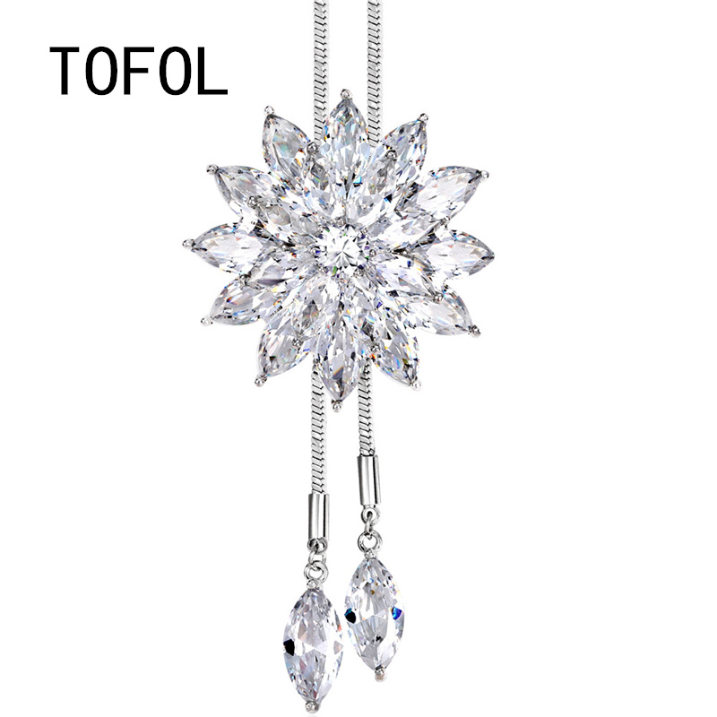 TOFOL Sweater Necklaces Long Chain Snowflake Rhinestone Pendant Necklace Large Pendants Chains Crystal Women's Fashion Jewelry