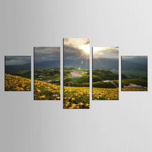 5 Panel Canvas Wall Art Panel HD Printed Yellow Flower Painting Canvas Print Home Decor Print Picture Canvas(China)