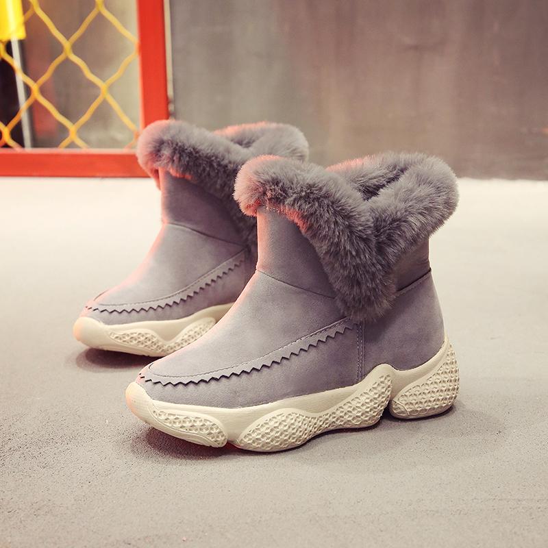 Lucyever Winter Boots Flat with Women Boots Ankle Boots for Women 2018 Fashion Warm Fur Snow Boots Ladies Flats Platform Shoes brand winter thick red boots fashion snow boots for women fur shoes ankle boots girls platform shoes women flats plus size 40