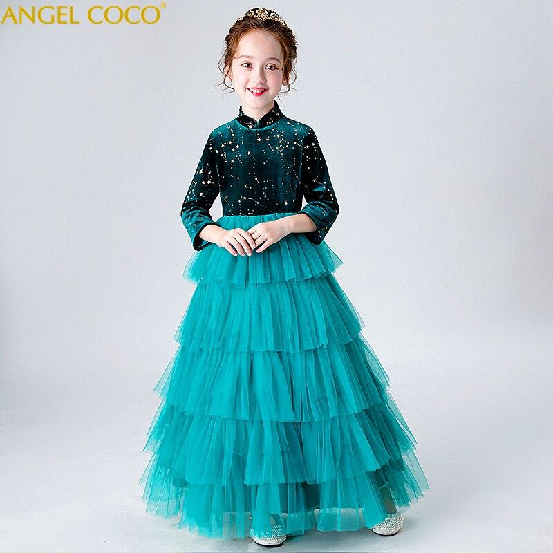 Velours Enfants Formelle Robe À manches Longues Fleur Fille Robes Pour Mariages D'anniversaire Princesse Robes de Fille robe de Bal Robe Longo