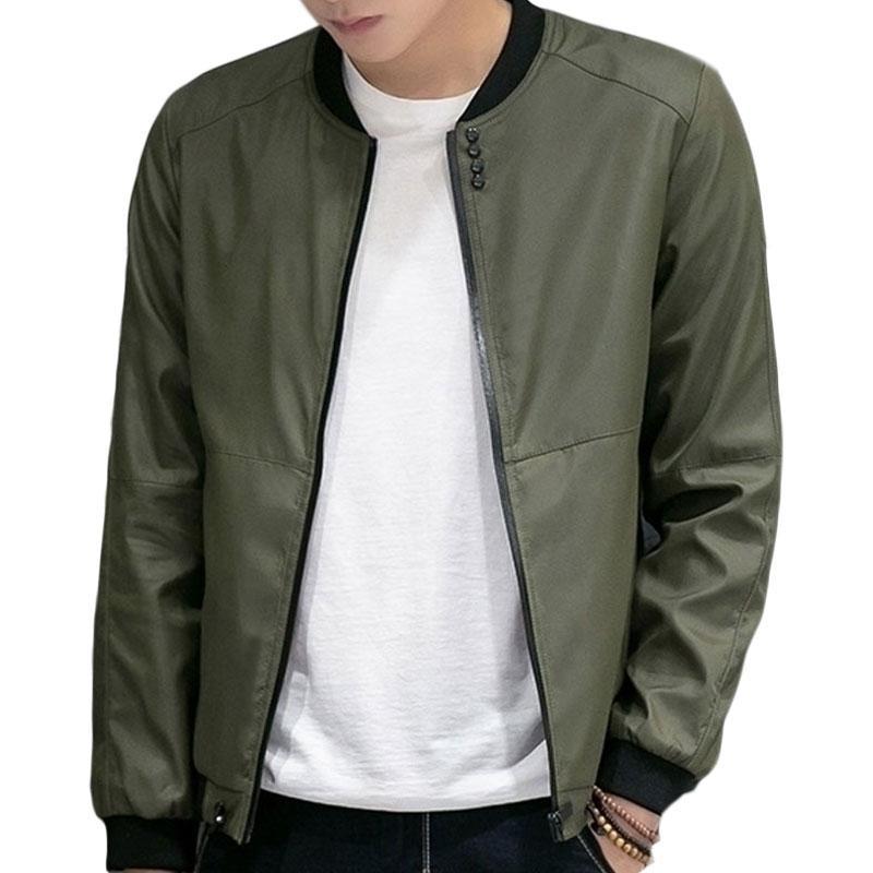 2017 New Pure Color Bomber Jacket Men Autumn Mens Fashion