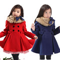 girl woolen overcoat woolen thickening outerwear trench medium-large child fur collar one-piece dress