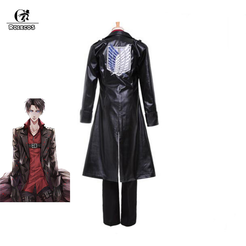 ROLECOS Anime Attack on Titan Cosplay Costumes Levi Ackerman Trench Recon Corps Against The Wings Cosplay Costume Custom Made