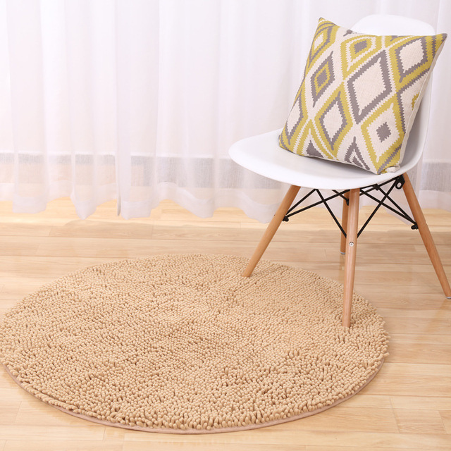 Custom Make Fluffy Chenille Non Slip Round Floor Rugs Yoga Mat Bedroom Parlor Living Room Play Carpet Computer Chair