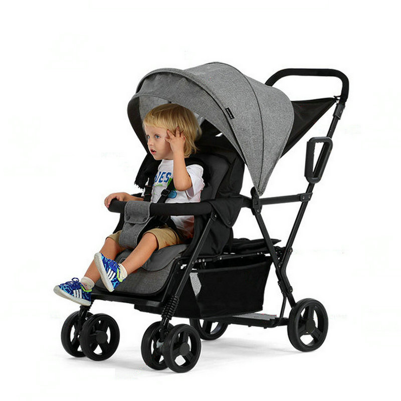 Lightweight Tandem Stroller, back seat can load 2-5ages kids, Foldable Twins Stroller Can Sit Can Lie Twins Stroller load 2kidsLightweight Tandem Stroller, back seat can load 2-5ages kids, Foldable Twins Stroller Can Sit Can Lie Twins Stroller load 2kids