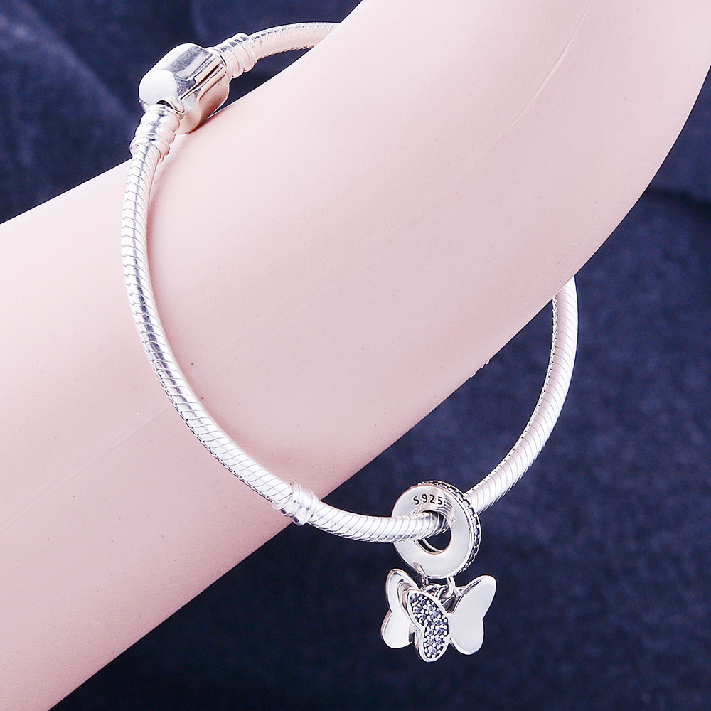 100% 925 Sterling Silver Pärlor Fladdrande Fjärilar Hängsmycke - Märkessmycken - Foto 5