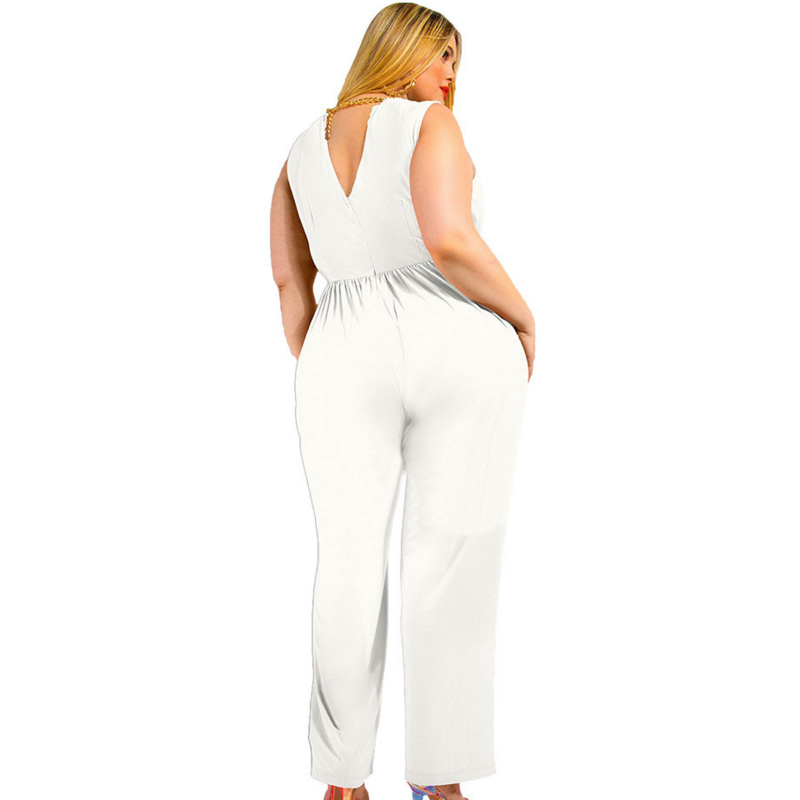 2018 women summer Autumn loose Jumpsuit Overalls o neck blue black white  Female jumpsuit for fat plus size back v neck rompers -in Jumpsuits from  Women s ... fc5268509a10