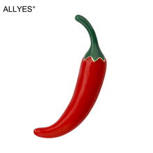 ALLYES Red Chili Pepper Brooches for Women Clothes Accessories Trendy Vegetable Shape Metal Enamel Brooch Jewelry