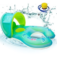 Baby Inflatable Swimming Pool Ring Float Neck Ring with Subshade Mother Children Swim Circle Safety Swimming Ring for Kids