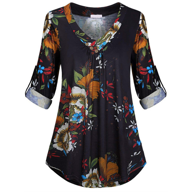 Blouse 5xl Plus Size Women Tunic Shirt Autumn Long Sleeve Floral Print V-neck Blouses And Tops With Button Big Size Clothing #11 4
