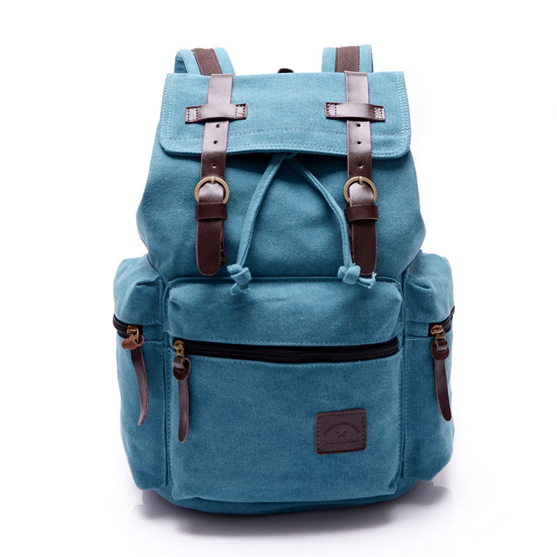 Mens Leather Hiking Backpack Rucksack Bag Laptop Travel School Bags Black Blue