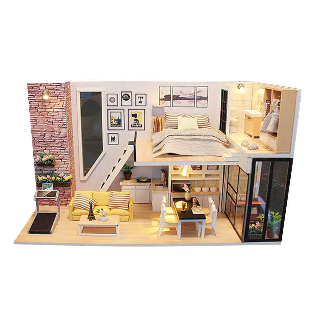 124 Diy Handcraft Miniature Project Wooden Dolls House Kids Gift Antique Duplex House Model Collections