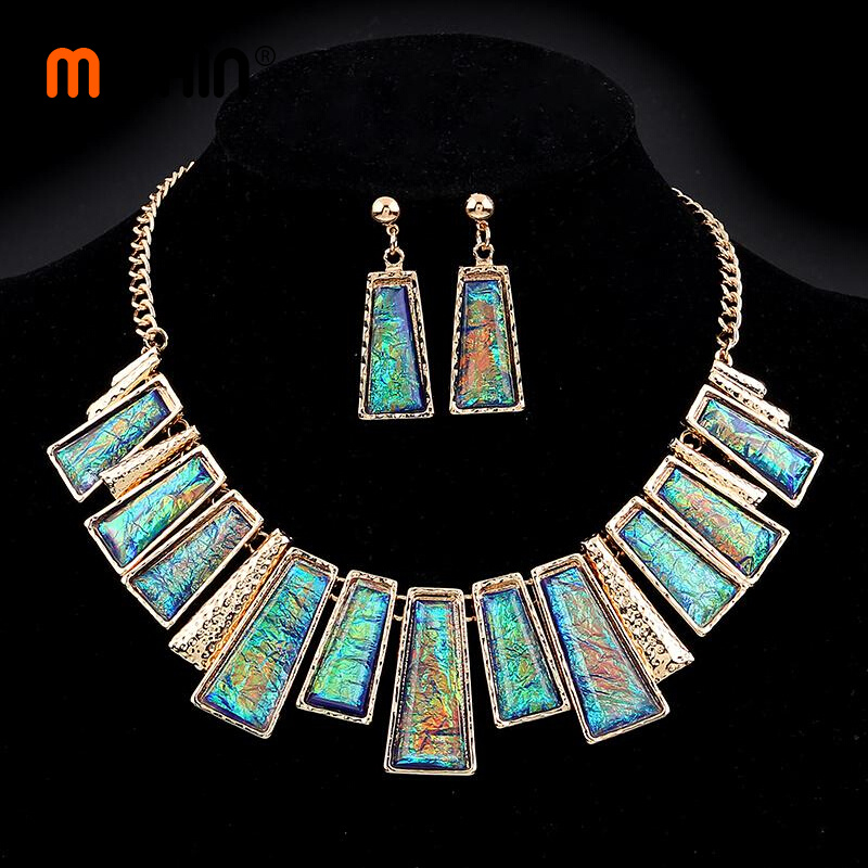 MINHIN Jewelry Set Green Rectangle With Pattern Series Link Gentle Lady's Necklace Earrings Set