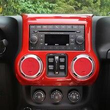 1 компл. автомобильные аксессуары Красный интерьер центр управления декоративный кожух наборы для Jeep Wrangler JK 2011-2017