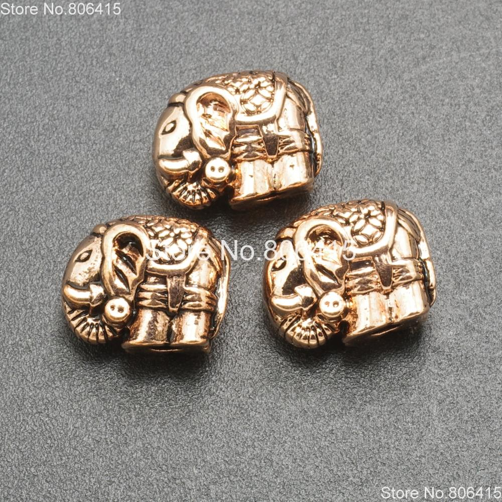 Solid Metal Elephant Bracelet Necklace Connector Charm Beads Tibetan Silver Gold