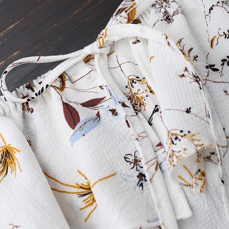 AZULINA Hombro de la Impresión Floral Blusa de Gasa Blanca Camisa de Manga Larga