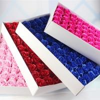 Yeni Yıl Sabun Çiçek 6 cm Yapay Güller Yüksek Dereceli 50 ADET Kutu dolu Romantik sevgililer Günü Hediyesi düğün Çiçekleri Ücretsiz gemi