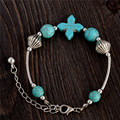 0120 Hot Charm Beads Fashion Jewelry Vintage Hollow Out Handmade Petals Tibetan Silver Turquoise Bracelet Free Shipping