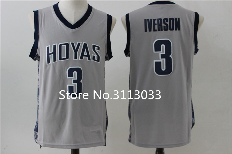 f59e5d1ce05 ... 3 Georgetown Hoyas Blue Men NWT Allen Iverson Georgetown Hoyas  Throwback College Basketball Jersey Stitched any Number and name(China) ...