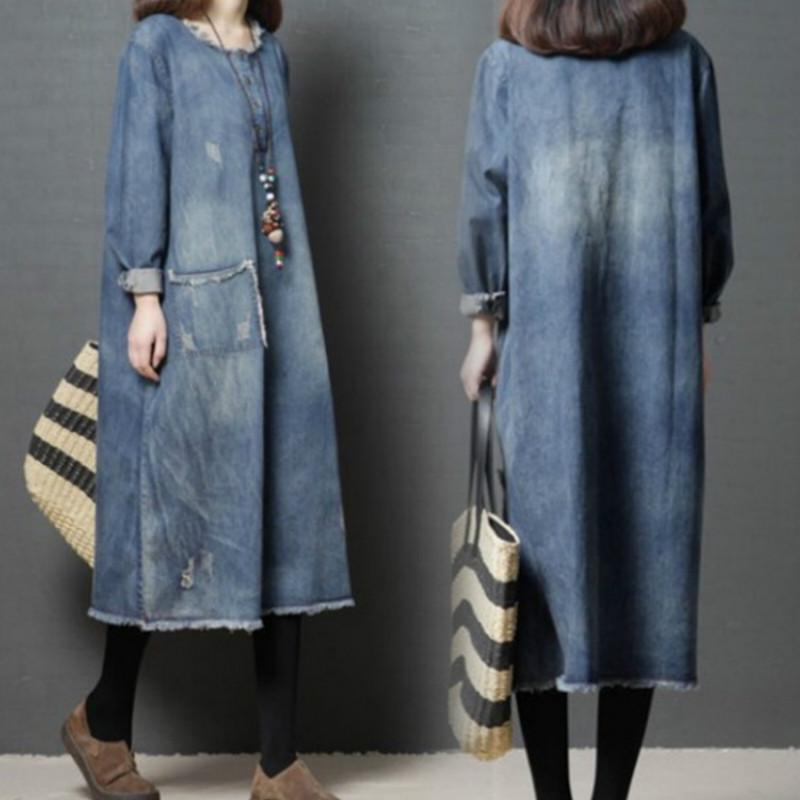 Women Denim Coat Autumn Winter Casual Long Sleeved Loose Large Size Maternity Dress Pregnant Clothes Pregnancy Clothes Winter maternity clothes sweater women loose large size tassel bat shirt high collar shawl thickening autumn winter pregnancy clothing