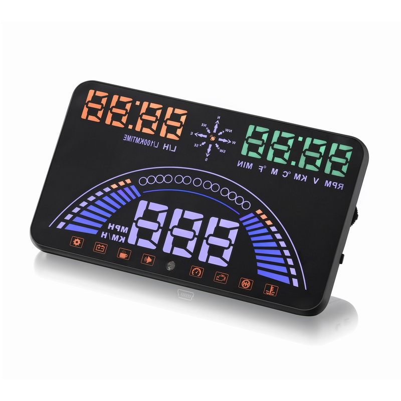 "5.8"" Car styling S7 HUD GPS Speedometer OBD2 Car Head Up Display Vehicle Speeding Warning Fuel Consumption Water Temperature RPM-in Head-up Display from Automobiles & Motorcycles"