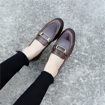 British Genuine Leather Oxford Shoes Woman Street All Match Brogues Metal Decoration Moccasins Soft Leather Derby Shoes Flats 1