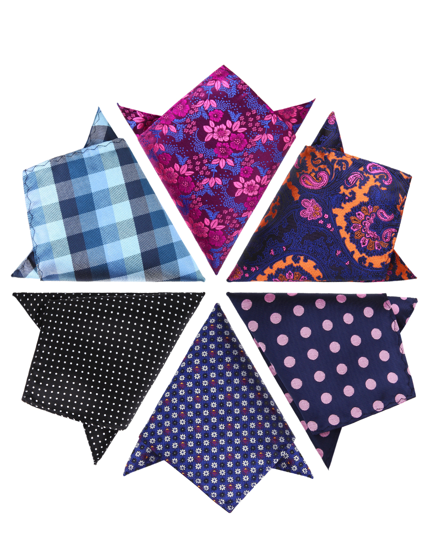 6 Pcs Pocket Square Set Mens Silk 25CM*25CM Handkerchief  Wedding Party Gift Box