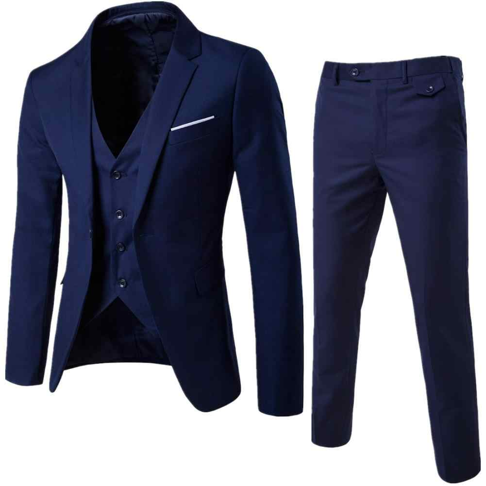 Men 3 Pieces Solid Classic Blazers Sets Men Business Blazer +Vest +Pants Suits Sets Spring Autumn Oversize Wedding Set 2019