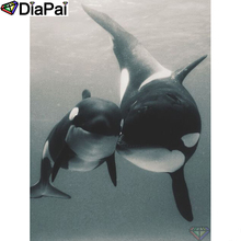 DIAPAI Diamond Painting 5D DIY 100% Full Square/Round Drill Animal whale Embroidery Cross Stitch 3D Decor A24805
