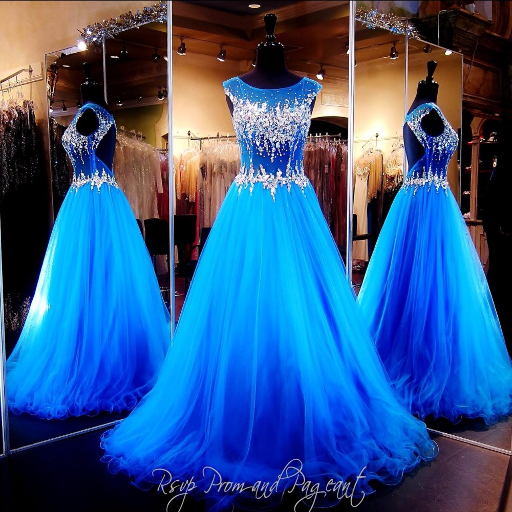 Rhinestone Royal Blue Dress Open Back Long Prom Gowns 2016 ...