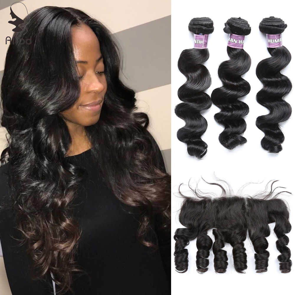 Alibd Brazilian Loose Wave Human Hair Bundles With Lace Frontal Closure Remy Hair 3 Bundles With 13x4 Free Middle Lace Closure(China)