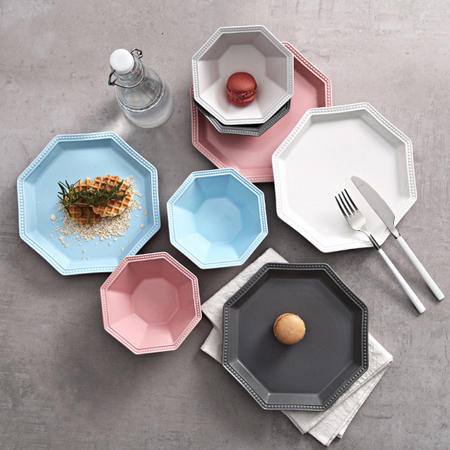1PCS Polygonal ceramic Oven microwave plate Fruit vegetable bowl Decorative craft party Barbecue dish storage tray & 1PCS Polygonal ceramic Oven microwave plate Fruit vegetable bowl ...