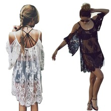 2017 Beach cover up Sexy Women Summer Beach Swimsuit Cover Sheer Floral Lace Embroidered Crochet Mini Dressbathing suit cover up