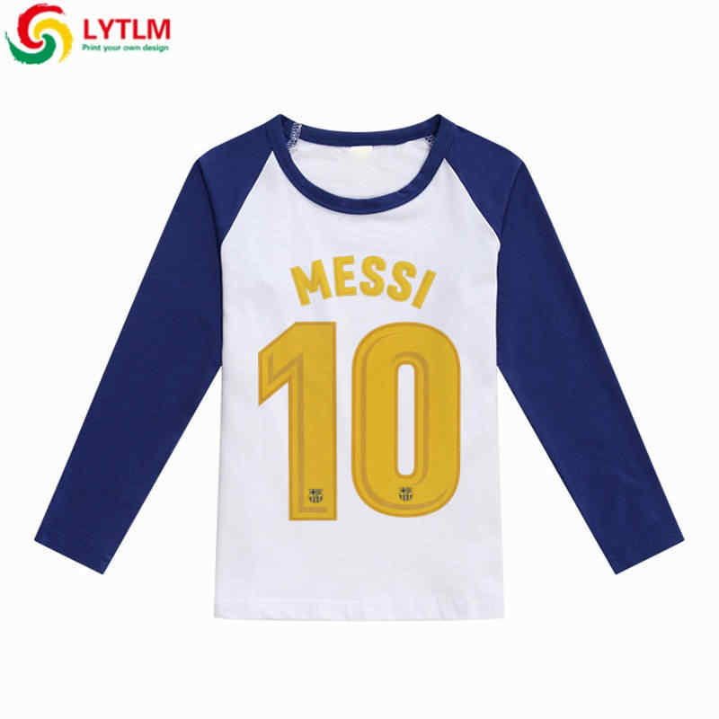 promo code 99098 9c00a LYTLM Messi Argentina Children Tops Tees Kids Boys Clothes Long Sleeve T  Shirt Baby Girl Boy Raglan Cotton White Shirt for Boys
