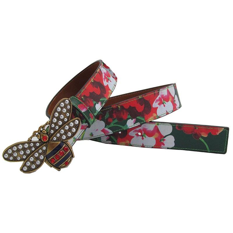 Fashion Women Leather Flower Print   Belt   Lady Pearl Rhinestone Bee Buckle Lady   Belt