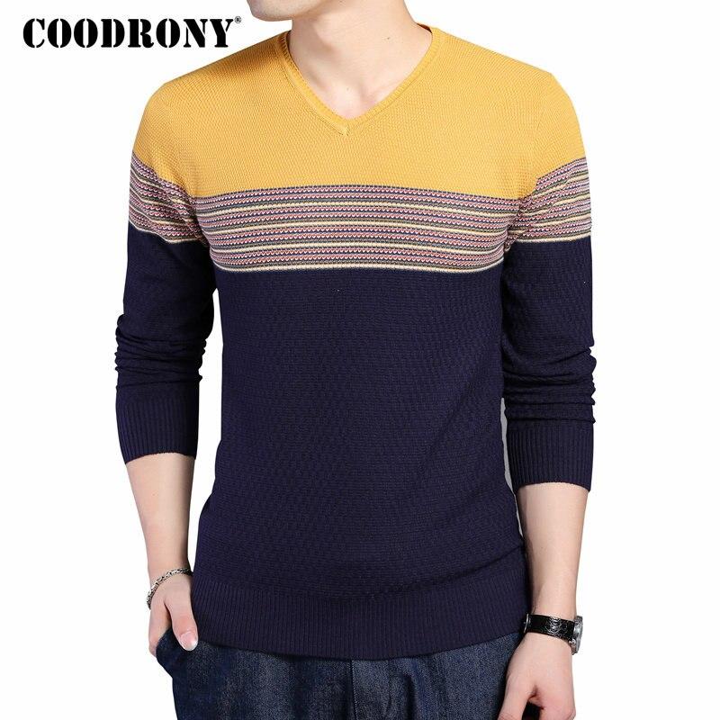 COODRONY 2018 nueva llegada Color rayas Patchwork hombre jersey con cuello en V para hombre Casual de algodón de punto suéter de lana Top 6646