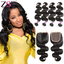 8A Brazilian Virgin Hair With Closure Body Wave Human Hair Extension 4 Bundles With Closure Hair Bundles With Lace Closures