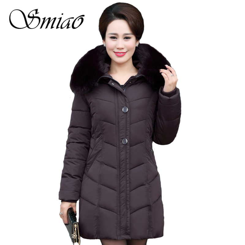 Smiao 2017 Large Size Middle-aged Women Jacket Winter Coat 5XL Big Fur Collar Mother Long Parka Female Outerwear High Quality new brand women s middle aged and old long down jacket female bigger sizes mother fur collar clothing winter coat printing hot